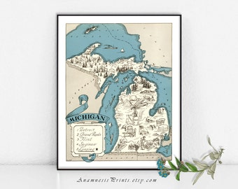 MICHIGAN MAP PRINT - picture map art - personalized artwork - gift idea - vintage home decor - wall artwork - turquoise blue - map drawing