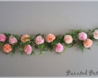 Blush Pink Garland and Headband Anemone Flower Felt Flowers