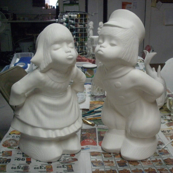 Unpainted Ready To Paint Dutch Boy Girl Outdoor Yard Ornament Garden Statue  Unpainted Ceramic Bisque To Paint Gifts For Her Flower Garden From ...
