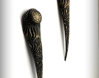 Black and Gold Talon Earrings - Laser Engraved Leather - Extra Long Spike Earrings