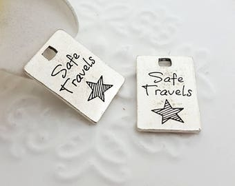 5 Safe Travels Charm, 14x21mm Antique Silver Tone Rectangle Word Tag Charm, Silver Charms Tag Pendant