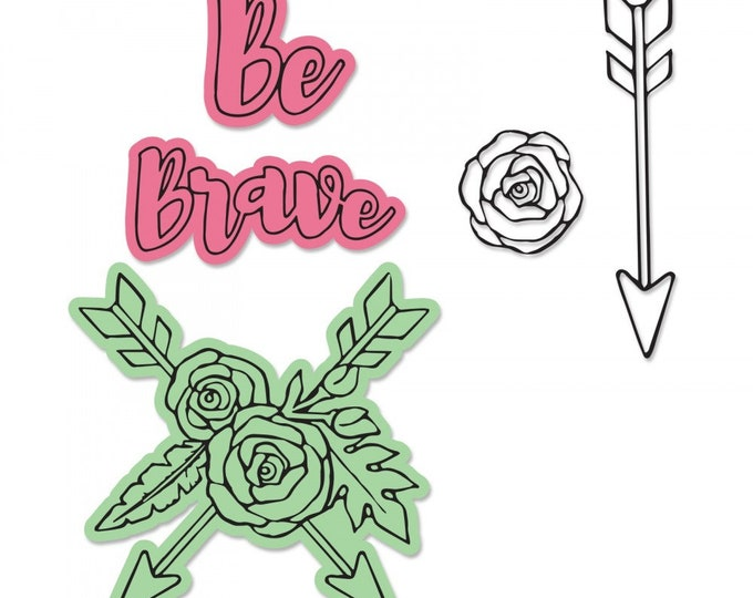New! Sizzix Framelits Die Set 3PK w/Stamps - Be Brave by Jen Long 662907