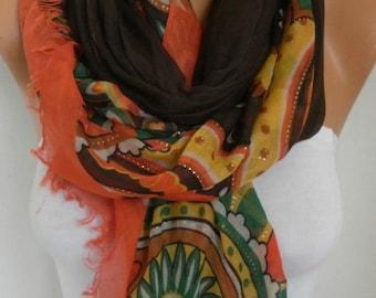 Brown & Orange Cotton Scarf,Shawl,Summer Scarf, Cowl, Halloween, Wrap, Bridesmaid Gift Ideas For,Her Women Fashion Accessories Women Scarves