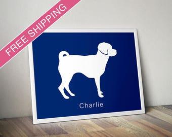 Personalized Puggle Silhouette Print with Custom Name - puggle art, modern dog home decor, dog gift, dog poster