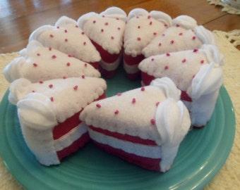 Felt Play Food Hand Stitched Eight Piece Layered  Cake