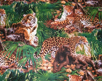 BTY QUEENS of the JUNGLE - Tigers, Leopards Print 100% Cotton Quilt Craft Fabric by the Yard