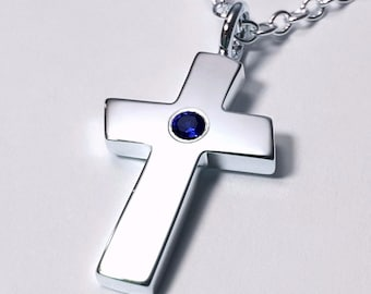 Large Blue Sapphire Cross Pendant, Sterling Silver Cross Pendant, Sterling Silver Cross Necklace, Blue Sapphire Cross Necklace, Large Cross