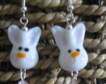 Bunny Rabbit Lampwork Earrings  Bunny Jewelry Lampwork Glass Beads