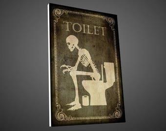 Skeleton toilet door sign,wc door sign,restroom door sign,gothic door sign,vintage sign,retro,skulls sign,Bathroom Décor,Home Décor