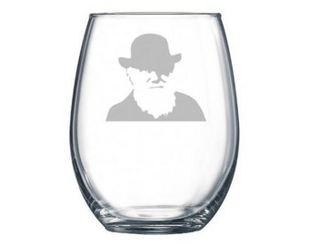 Darwin pint or wine glass, Origin of Species, Theory of Evolution, scientist gift, atheist present, atheism, Flying Spaghetti Monster