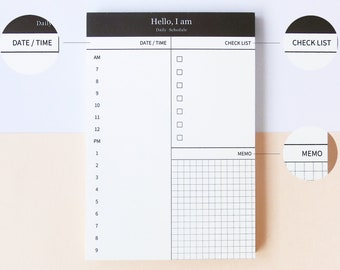 Daily Schedule / Daily Planner with Checklist & Memo Notepad