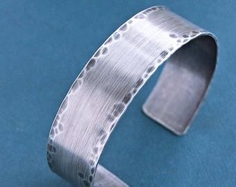 Mens Rustic Cuff Bracelet, Sterling Silver Hammered Bangle