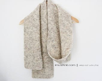 hand knit scarf || knit winter scarf | long garter scarf || handknit gift for unisex -wheat 78''