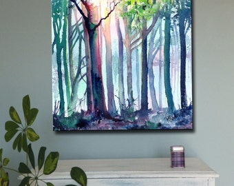 WOODLAND LIGHT art canvas print of original watercolour painting trees forest nature sunlight watercolor