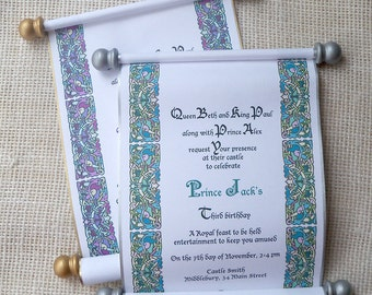Prince Birthday Invitation in Blue Teal and Gold Royal Throne