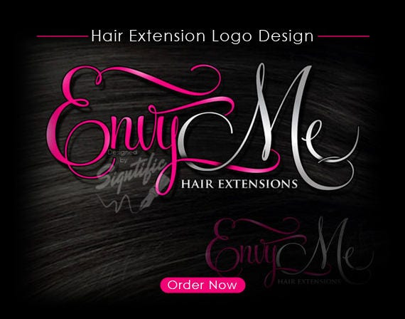 hair extensions logo design beauty salon logo pink and