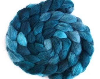 Dark Aqua, Shetland Roving - Handpainted Spinning or Felting Fiber