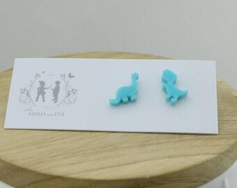 adorable Aqua dinosaur earrings - Laser Cut Stud Earrings - Wooden earrings - Australian Seller