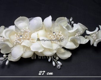 Handmade Cloth Chiffon Ivory wedding headdress flowers with beads artificial crystal balls Peals for bridal and bridesmaid wedding headwear