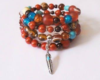 Bracelet multi-row boho ethnic orange