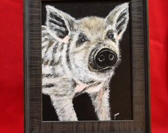 Potbelly Pig Painting, Chipmunk Mini Potbelly Pig Original Wall Art, Gloucester Old Spot Pig Framed Original Painting, Framed wall art