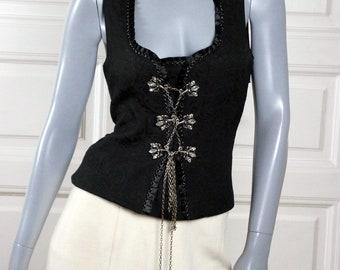 Black Brocade Bodice, European Vintage Renaissance Style Corset Vest w Jewel Clasps: Size 10 US, Size 14 UK