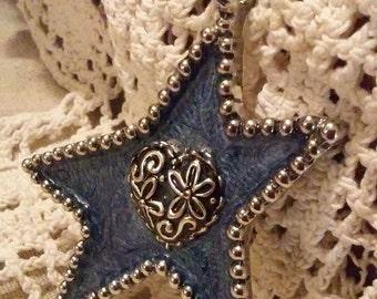 Dazzling Blue Star Pendant or Saddle Charm