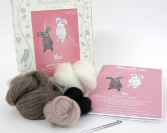 Little Mice Kit - Needle Felting Craft Kit - Make Own Mouse x 2 - British Yarn & Design - Gift