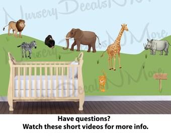 Jungle Wall Decals, Jungle Stickers, Elephant, Monkey, Safari Wall Stickers, Zebra (Drawn Jungle Animals Only) DJ AO
