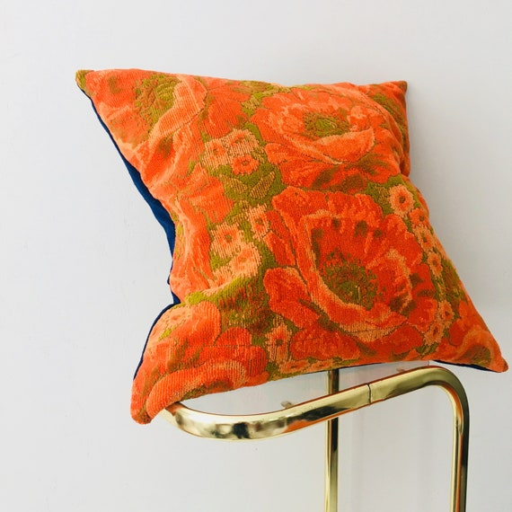 "Retro Orange Floral Pillow Cover 20"" x 20"" Square Cushion Pillow Vintage Terry Cloth Green Flower"