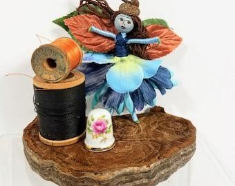 "Bendy doll, Fairy, Blue, Copper, Green, Flower fairy, Acorn cap, Dollhouse, 4"", handmade, hand painted, bendable, woodland, pocket size"