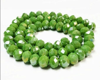 65 Green Rondelle Beads, 6x8mm Faceted Glass Beads , Spacer Beads, Bead Supply, Green faceted rondelle beads, rondelle beads, r26