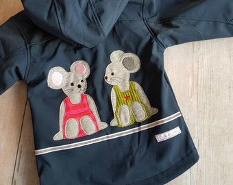 Jacket Blue Hooded Jacket mouse embroidered