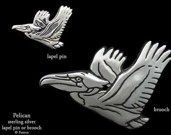 Pelican Lapel Pin or Pelican Brooch Sterling Silver