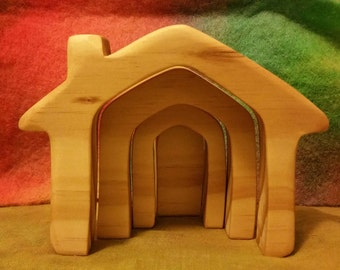 Waldorf Steiner Wooden Toy,  Small Natural House Stacker