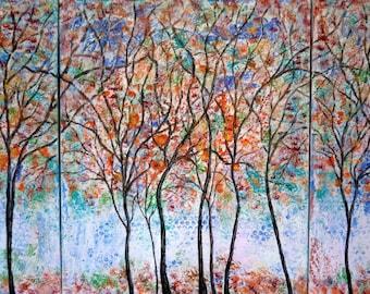 Original Painting  - 4 seasons trees  triptict -by Vadal  44 x 24