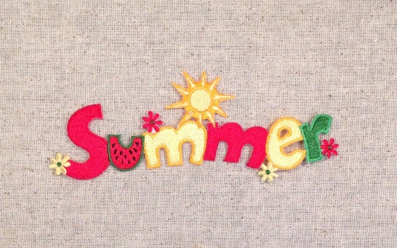 summer word with sun watermelon and daisy flowers iron on applique embroidered patch 695864a