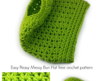 Messy Bun Hat Crochet Pattern, Messy Bun Beanie, Easy Crochet Pattern, PDF Pattern, Crochet Hat Pattern, Easy Crochet