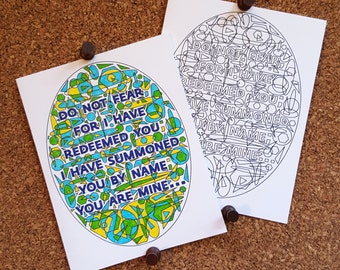 Isaiah 43 Greeting Card / Do Not Fear / Add Your Own Color / Coloring Page / Encouragement / Inspirational Quote