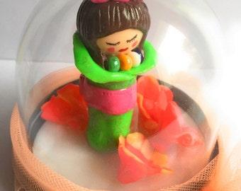 Customizable decoration ball / Globe transparent/Miniature/figurine/Kokeshi/fimo/Kimono green neon/flowers/rose/idea gift/kawaii