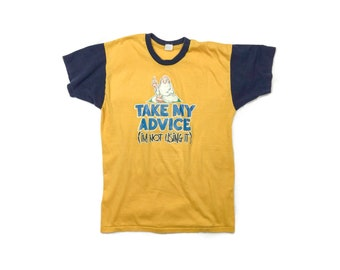 Vintage 80s Take My Advice Colorblock 50/50 Tee | Medium Large