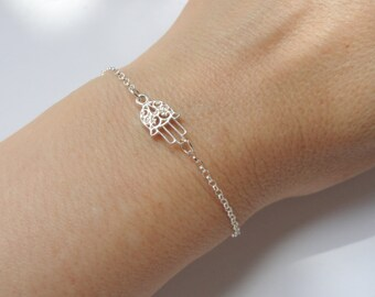 Sterling silver Hamsa bracelet, Hamsa bracelet, Hamsa hand bracelet, Amulet bracelet, Gifts, Hamza hand bracelet, Hamza jewelry