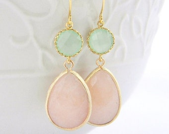 Peach and Mint Earrings in gold bridesmaid earrings wedding jewelry gift for her