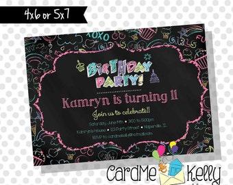 Printable Girlie Rainbow Chalk Doodle Graffiti Birthday Party Invitation - Digital File