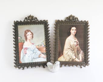 Italian Lovely Ladies Portraits in Brass Frames Wall Decor Set of 2