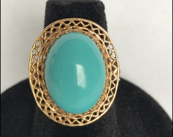 Lovely Turquoise Cabochon Ring with 10K Yellow Gold!