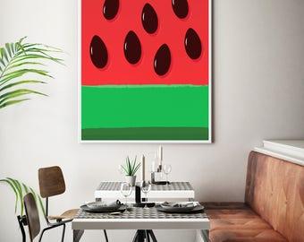 Fruit Art Watermelon Art Kitchen Art Print Dining Room Poster, Kids Decor, Nursery Art Baby Art Wall Decor Extra Large Print Framed