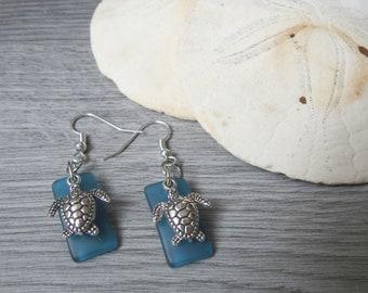 Sea Turtle Earrings - Sea Glass Turtle Earrings - Blue Turtle Earrings - Beach Theme Earrings - Blue Beach Glass Earrings - Beach Wedding