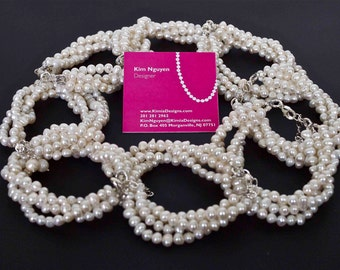 Set of 8 Freshwater Pearl Bridesmaid Twist Bracelets - Cream