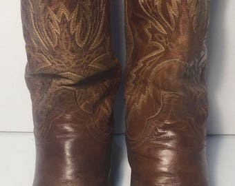 LUCCHESE Brown Leather Western Riding Cowboy Riding Boots Men's Size 9 D